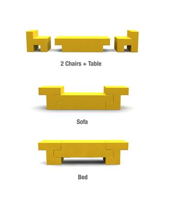 Mobiliario al estilo tetris